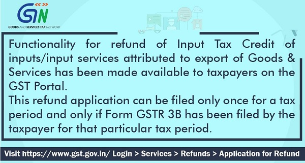 Functionality for refund of Input Tax Credit