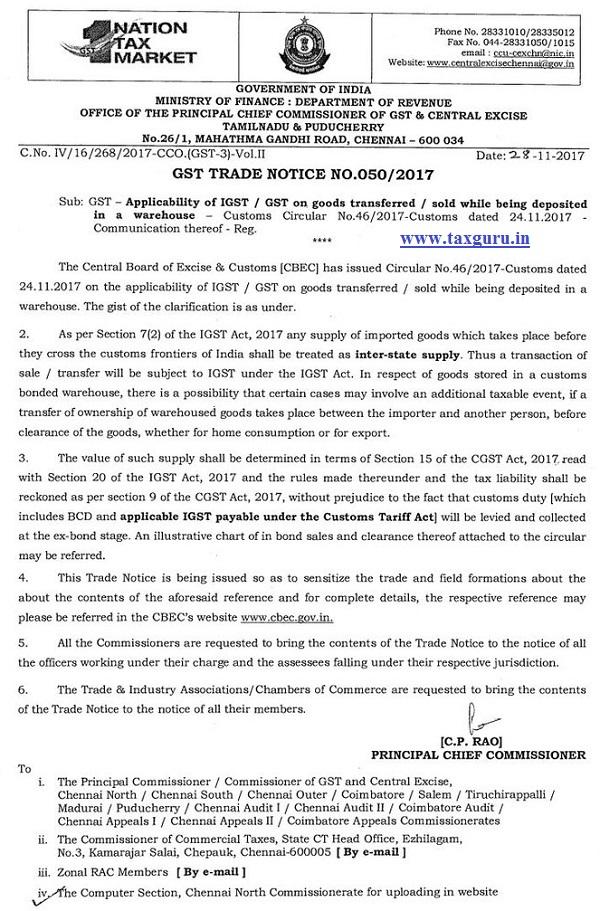 GST TRADE NOTICE NO. 050 of 2017