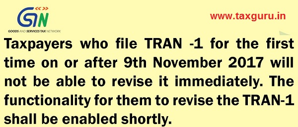 GSTR TRAN -1 Revision