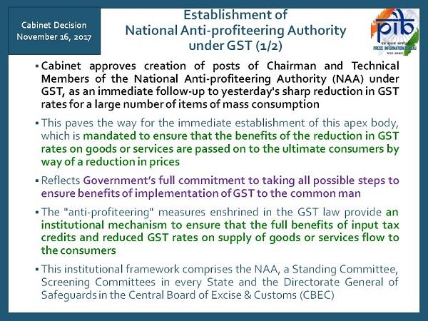 National Anti-profiteering Authority under GST Image 1