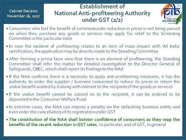 National Anti-profiteering Authority under GST Image 2