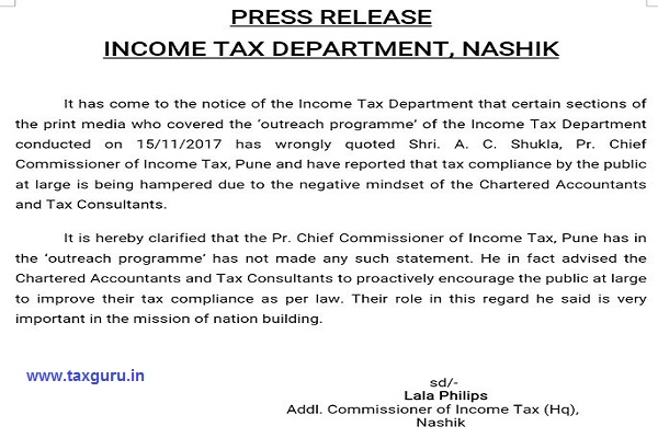 Press Release by Nashik IT Dept on Role of CAs in Tax Collection