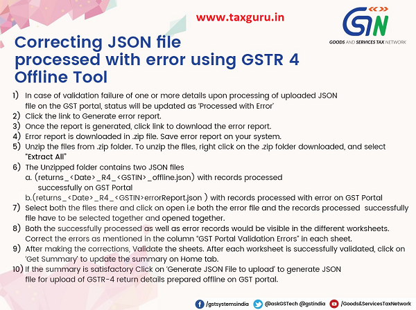 Taxpayers guide to correcting JSON file processed with error using GSTR 4 Offline Tool