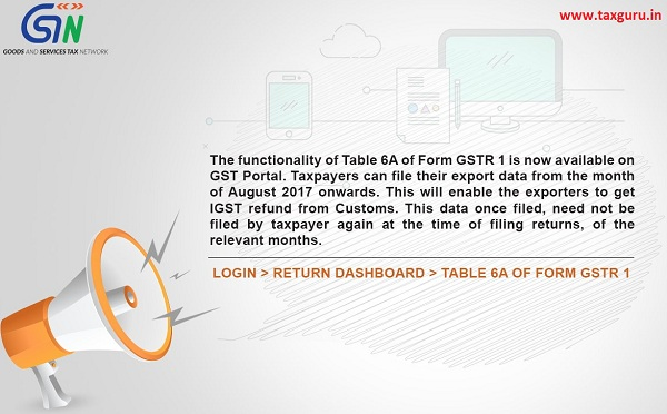 The functionality of Table 6A of Form GSTR 1 is now available on GST Portal