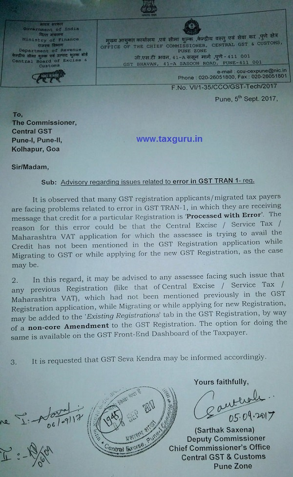 error in GST TRAN 1- Advisory
