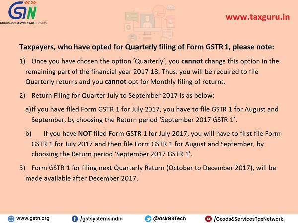 Advisory for Taxpayers who have opted for Quarterly filing of Form GSTR 1