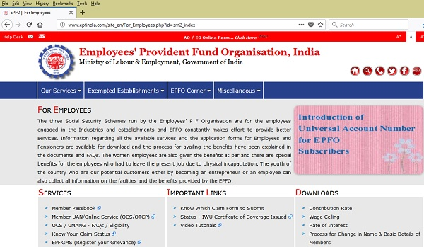 EPFO Website Home Page