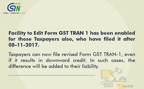 Facility to revise Form GST TRAN-1 enabled on GST Portal