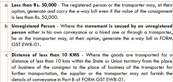In following transactions, the generation of e-way bill is optional