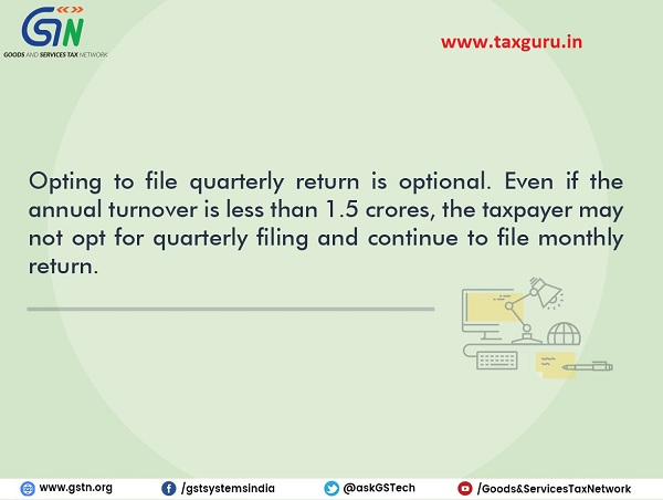 Opting to file quarterly return is optional for taxpayers