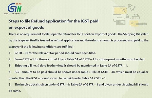 Steps to file Refund application for IGST paid on export of goods