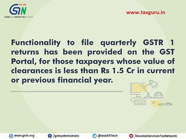 Taxpayers can now opt for quarterly filing of GSTR 1 Returns