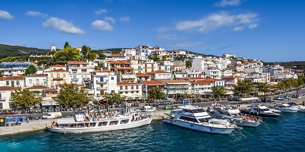 greece skiathos chora town port island summer