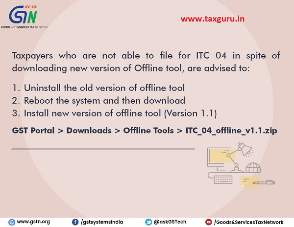Advisory for taxpayers who are not able to file for ITC 04 in spite of downloading new version of Offline tool