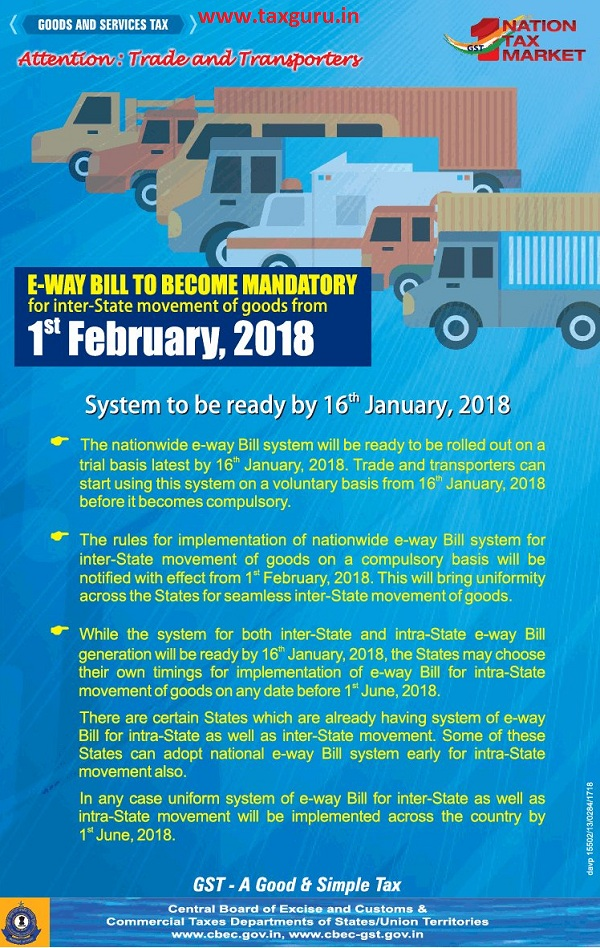 Attention trade and transporters, e-way bill to become mandatory for inter-State movement of goods from 1st February 2018