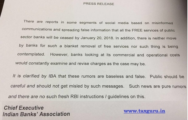 Indian Bank Association clarification on rumours on discontinuation of free services by Banks