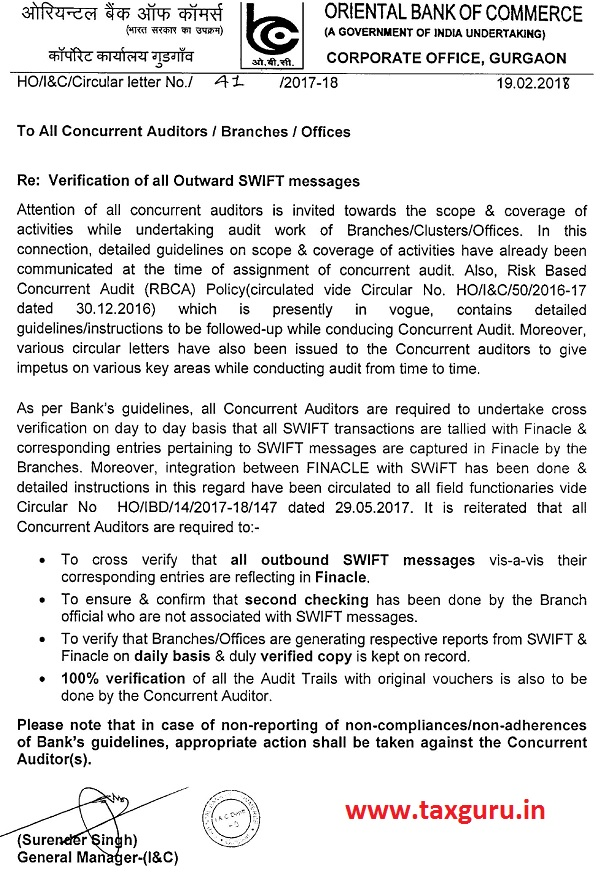 OBC on Verification of all Outward SWIFT messages