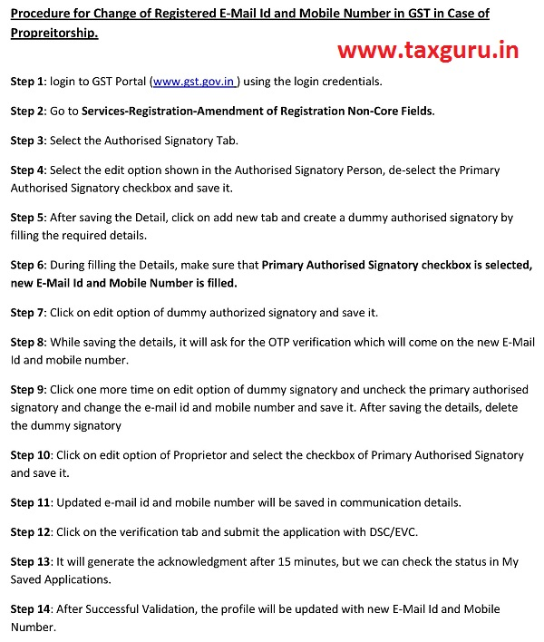 Procedure for Change of Registered E-Mail Id and Mobile Number in GST in Case of Propreitorship
