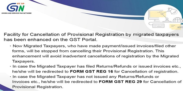 Cancellation of Provisional Registration by migrated taxpayers enhanced on GST Portal