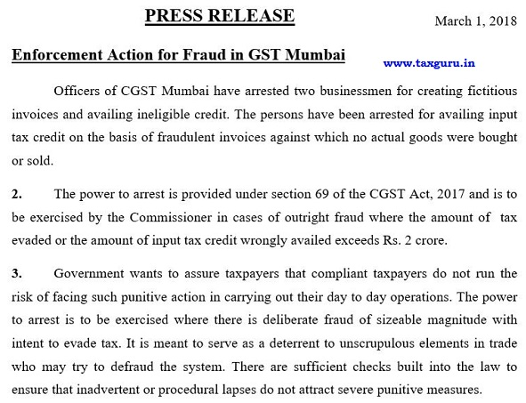 Enforcement Action for Fraud in GST Mumbai
