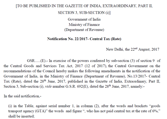 Notification No. 22.2017 Central Tax Rate