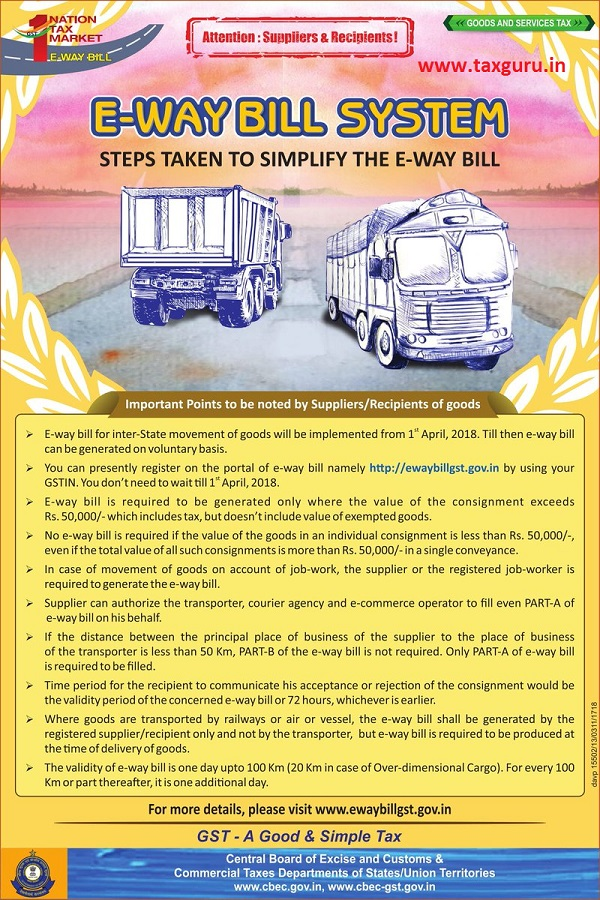 STEPS TAKEN TO SIMPLIFY THE E-WAY BILL