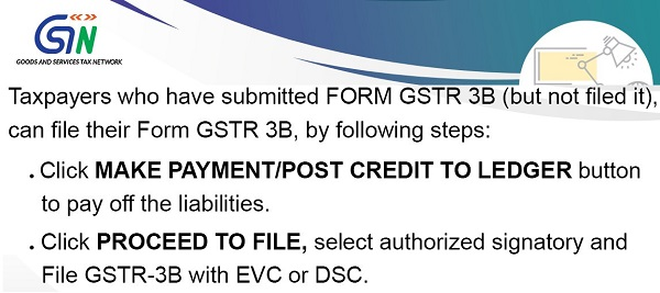 Steps to be followed by taxpayers, who have submitted FORM GSTR 3B but not filed it