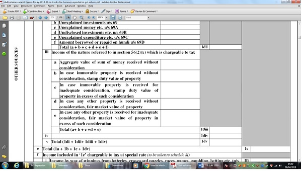 Changes in ITR-2 in Other Sources Schedule