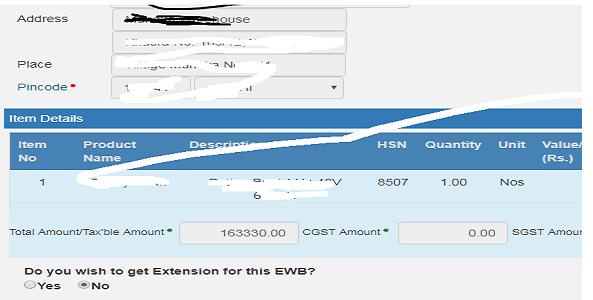 Do you wish to get Extension for this EWB