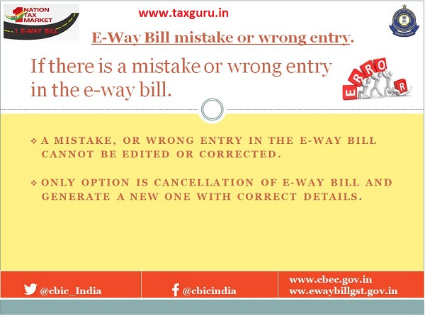 E-Way Bill mistake or wrong entry.