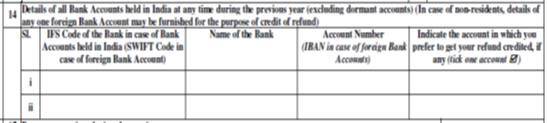 Foreign Bank Details in case of Refund to NRI