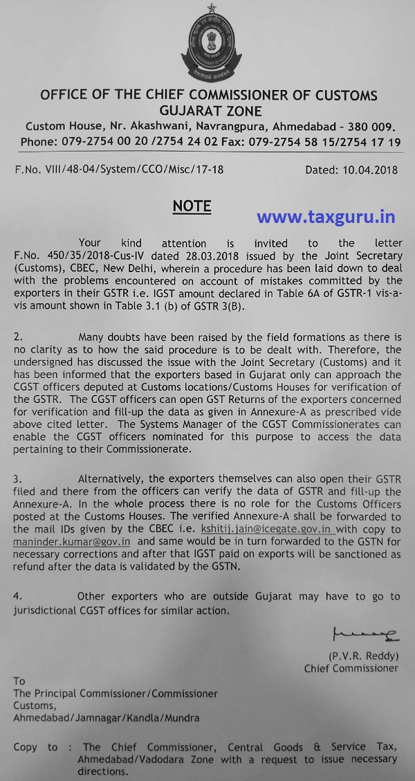 Problems faced by Gujarat based exporters in IGST Refund Application