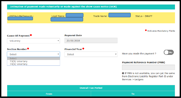 Procedure for intimation of voluntary payment- FORM GST DRC 03 | TaxGuru