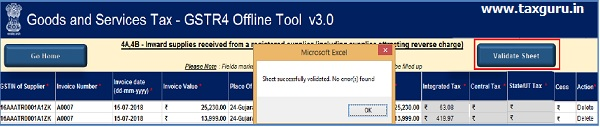 Once done click on validate sheet button
