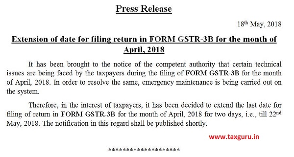 Press Release on extension of date for filing return in FORM GSTR-3B