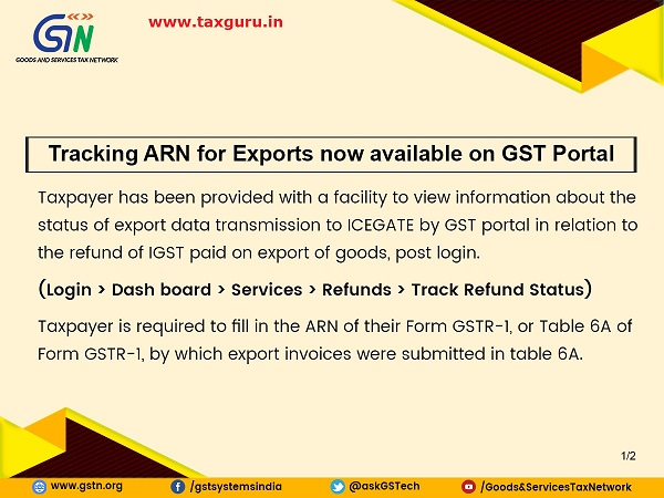 Tracking ARN for Exports now available on GST Porta