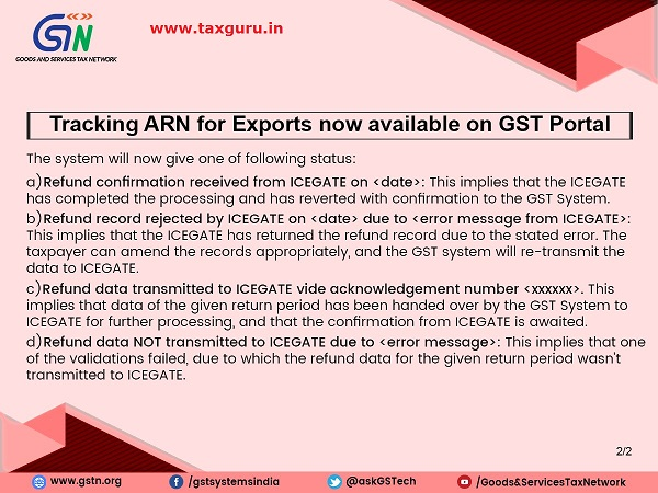 Tracking ARN for Exports now available on GST Portal