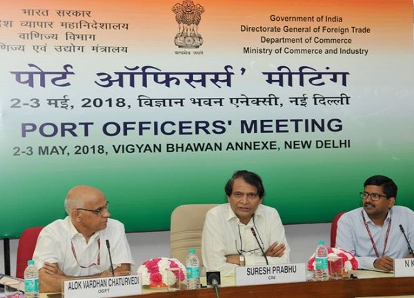 Union Minister of Commerce & Industry and Civil Aviation, Shri Suresh Prabhu, speaking at the Port Officers' Meeting in New Delhi.