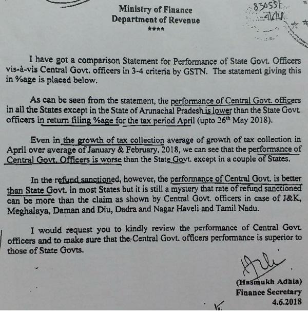 Circular on GST Officer Performance