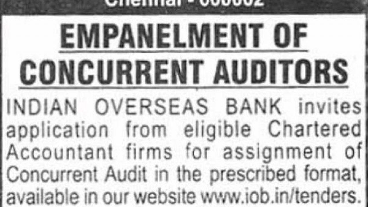 Empanelment -Indian Overseas Bank for Concurrent Audit | TaxGuru