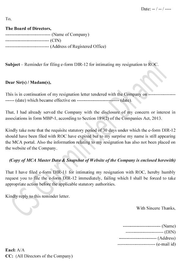 Draft Resignation Letter Of Director from taxguru.in