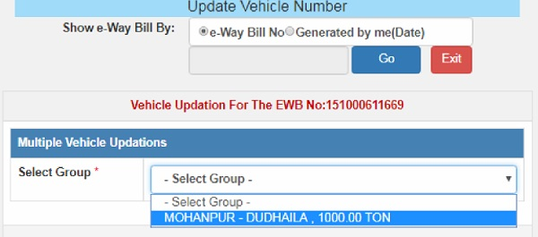 Update Vehicle Number on E-Way Bill