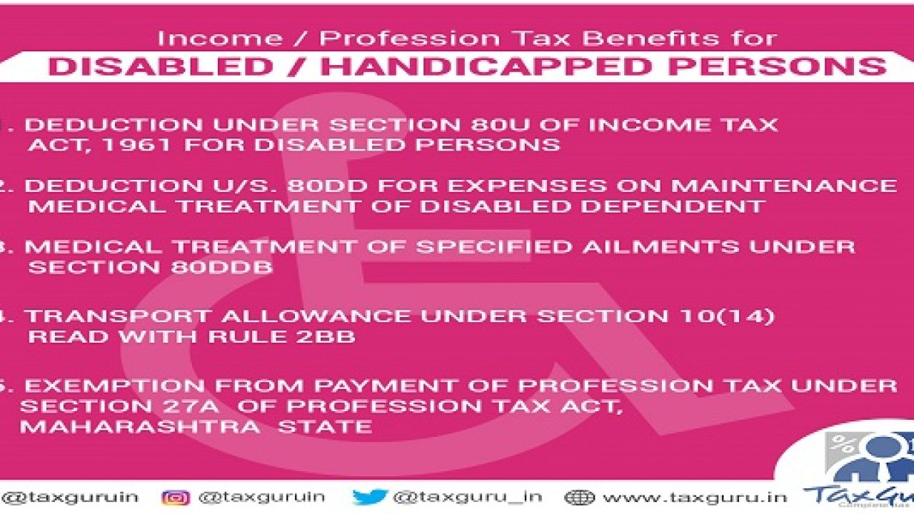 Income / Profession Tax Benefits for Disabled / Handicapped Persons