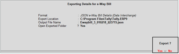 Exporting Details for e-way Bill