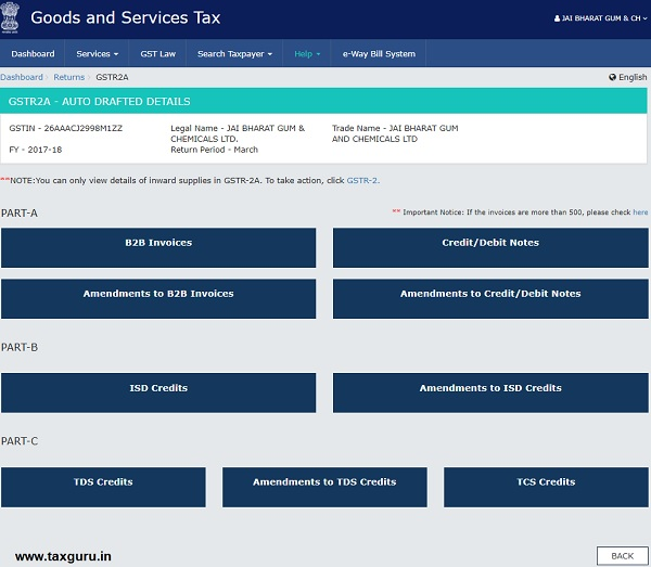 Form GSTR-2A inward Supplies Return Image 6