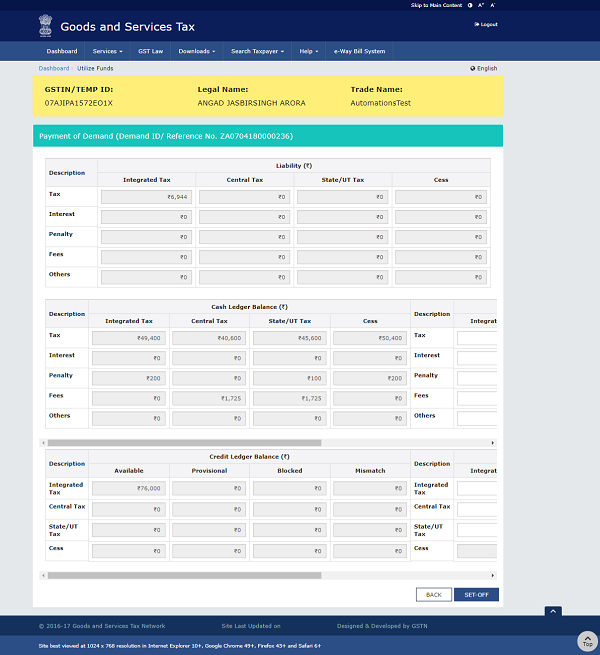 Liability, Cash Ledger Balance and Credit Ledger Balance details are displayed