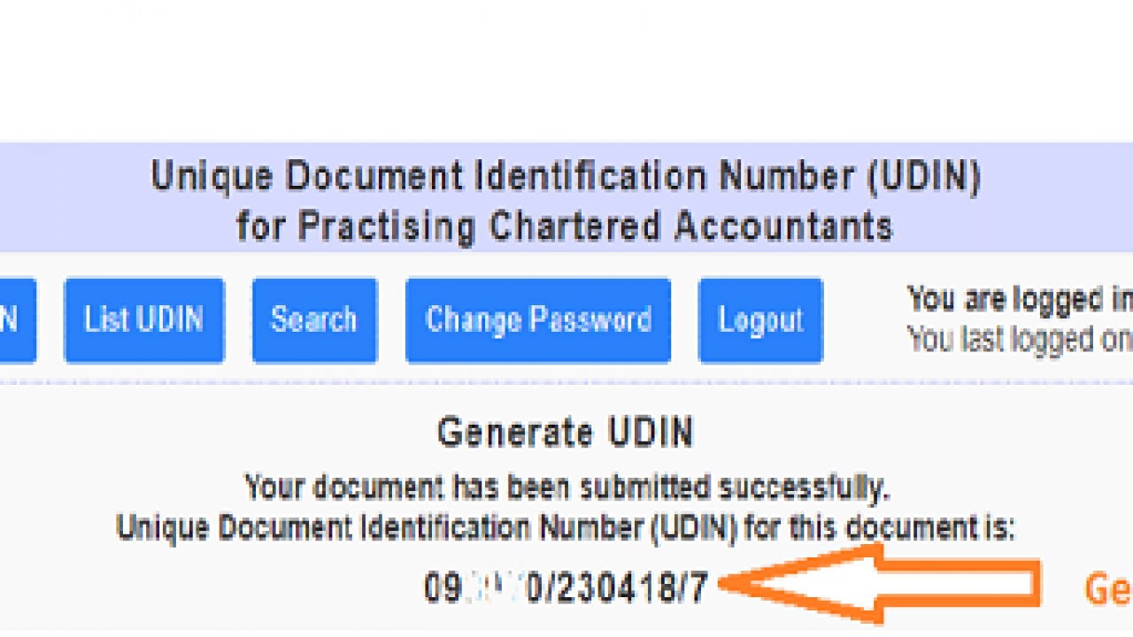 Unique Document Identification Number (UDIN) for Practising CAs