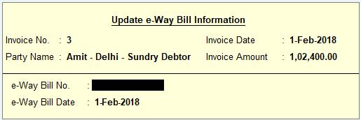 Update e-way Bill Information