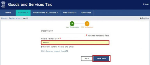 Now enter the One Time Password (OTP) received on the mobile number and click on Proceed