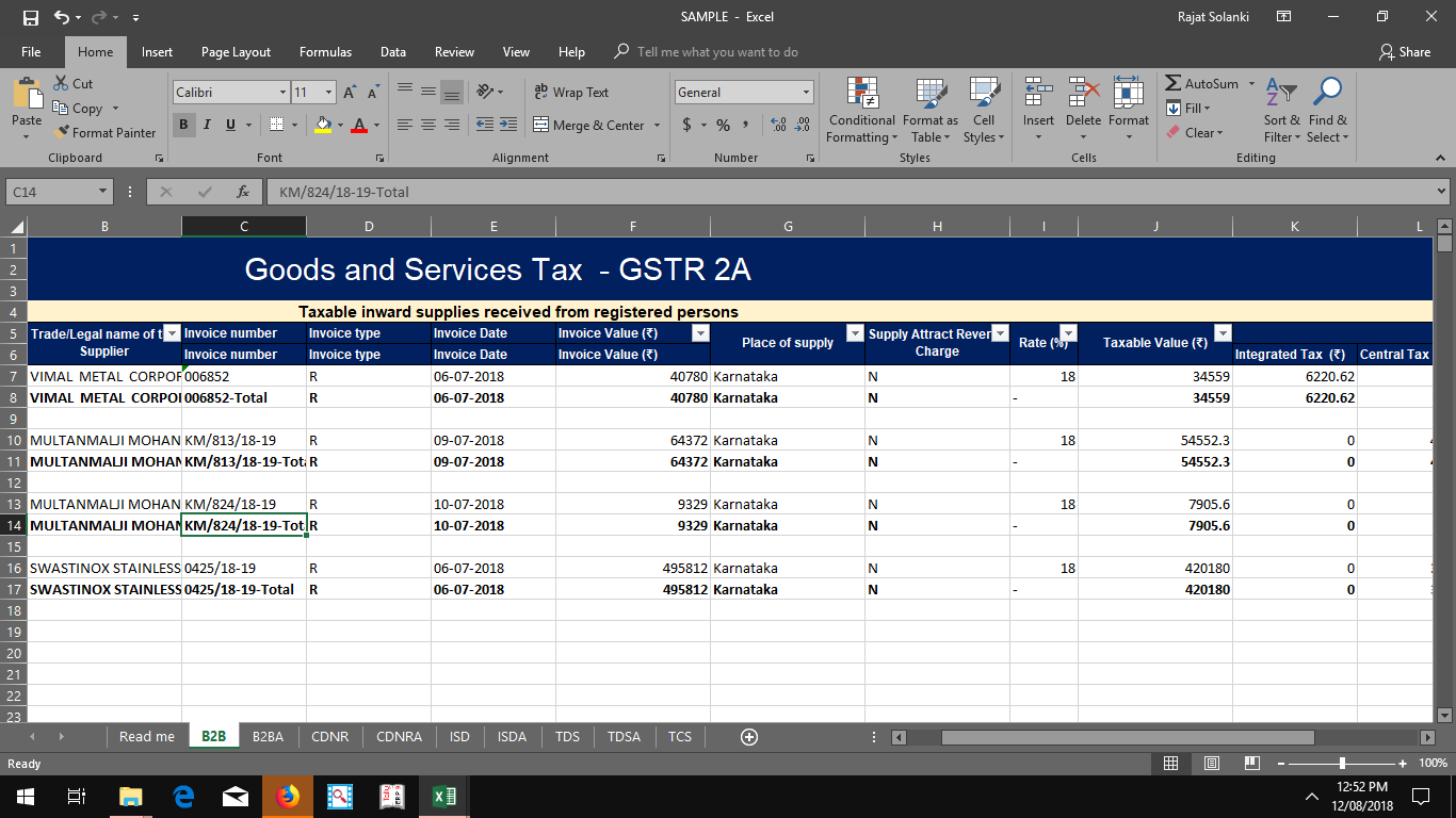 GSTR 2A To Excel For Reconciliation photo 1